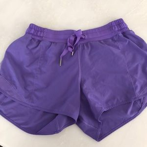 Purple lulu running shorts